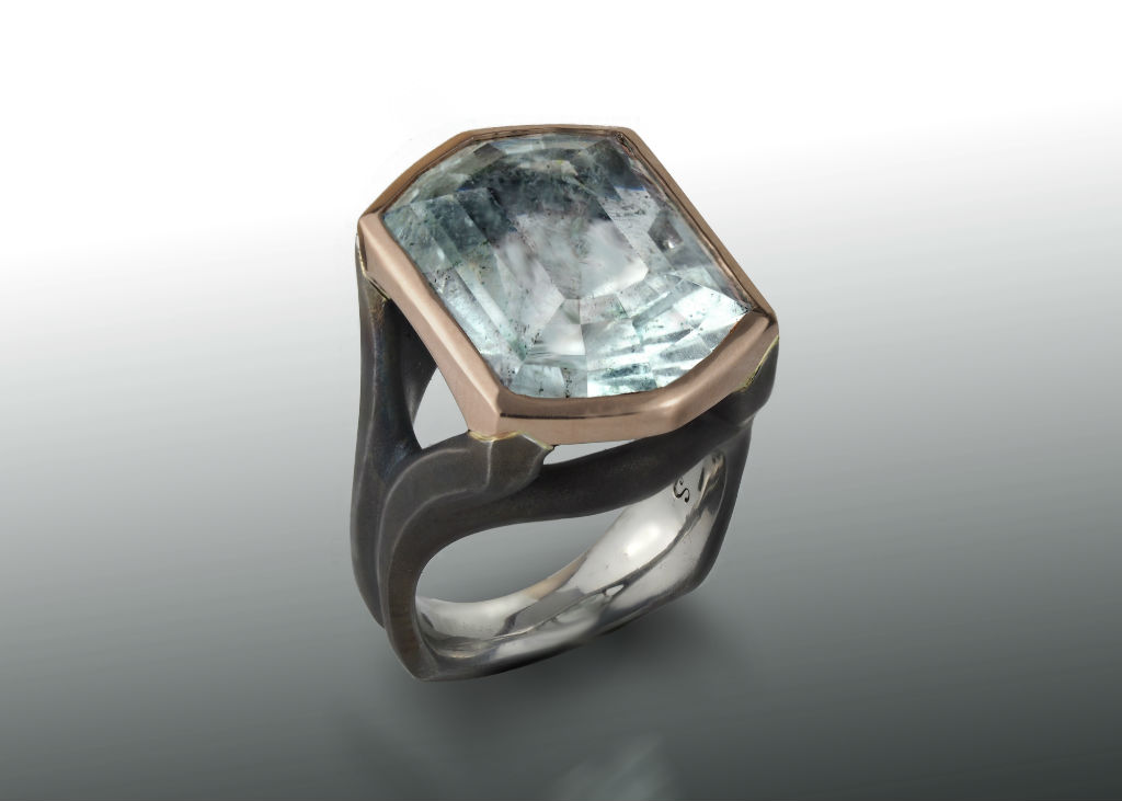 Aquamarine steel and rose gold ring