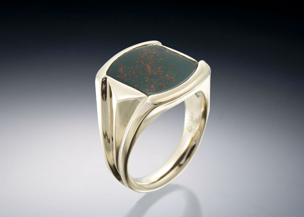 Bloodstone 18K Gold Signet Mens Ring