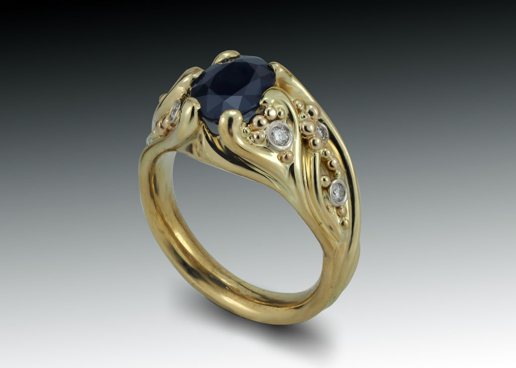 Dark sapphire diamond and granulation tendril gold ring