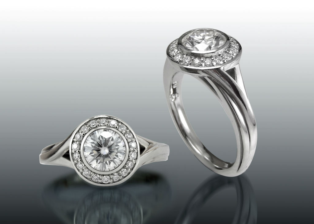 Diamond Halo Bezel Twist Shank Ring
