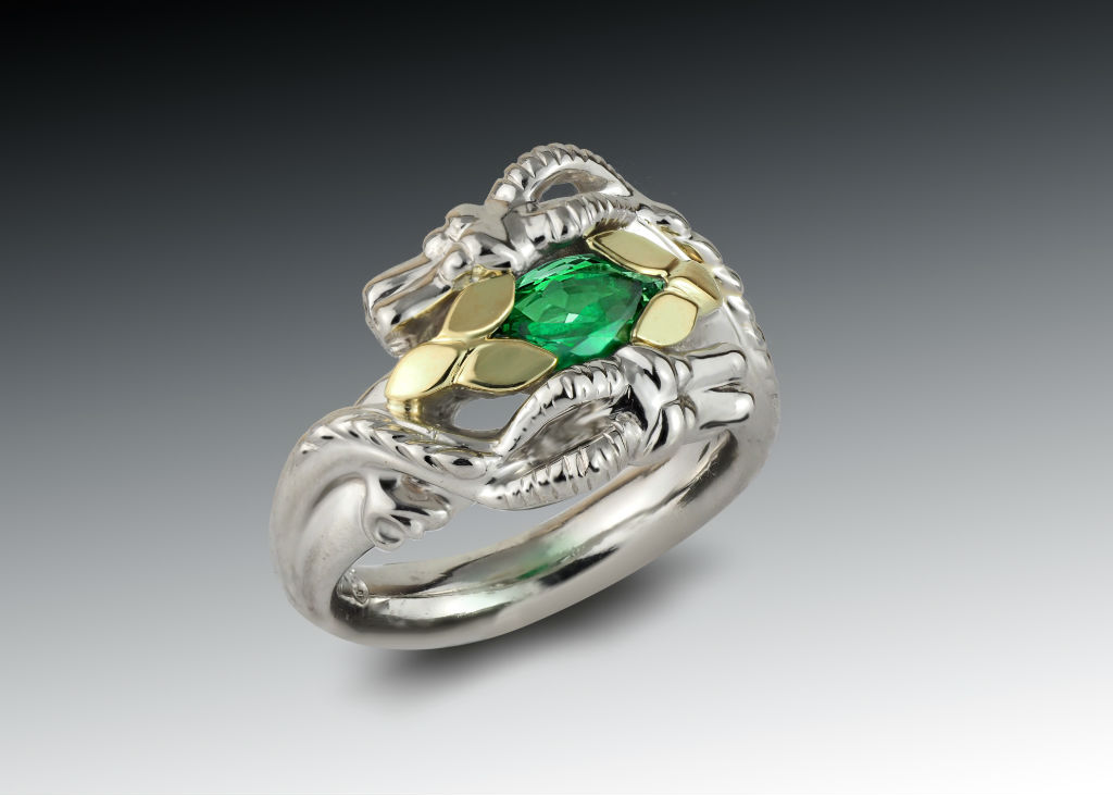Emerald Double Dragon Ring in Platinum and 18K Yellow Gold