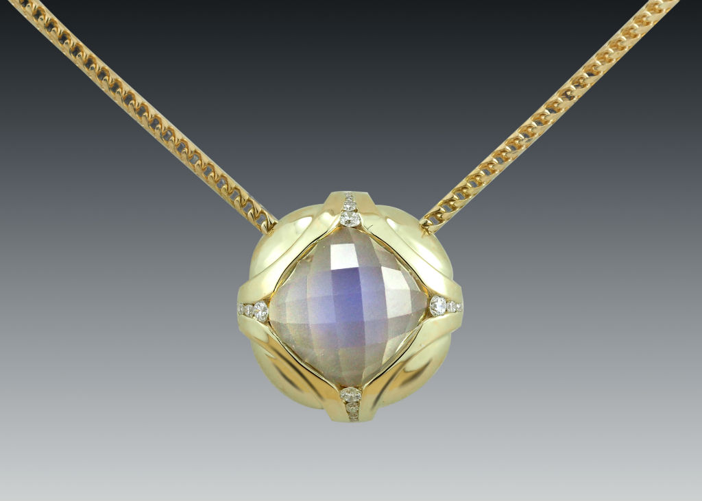 Faceted moonstone diamond 18k necklace