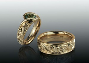 Green sapphire carved engagement and band set