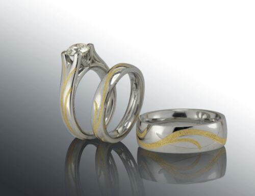 Inlaid Diamond Bridal Set
