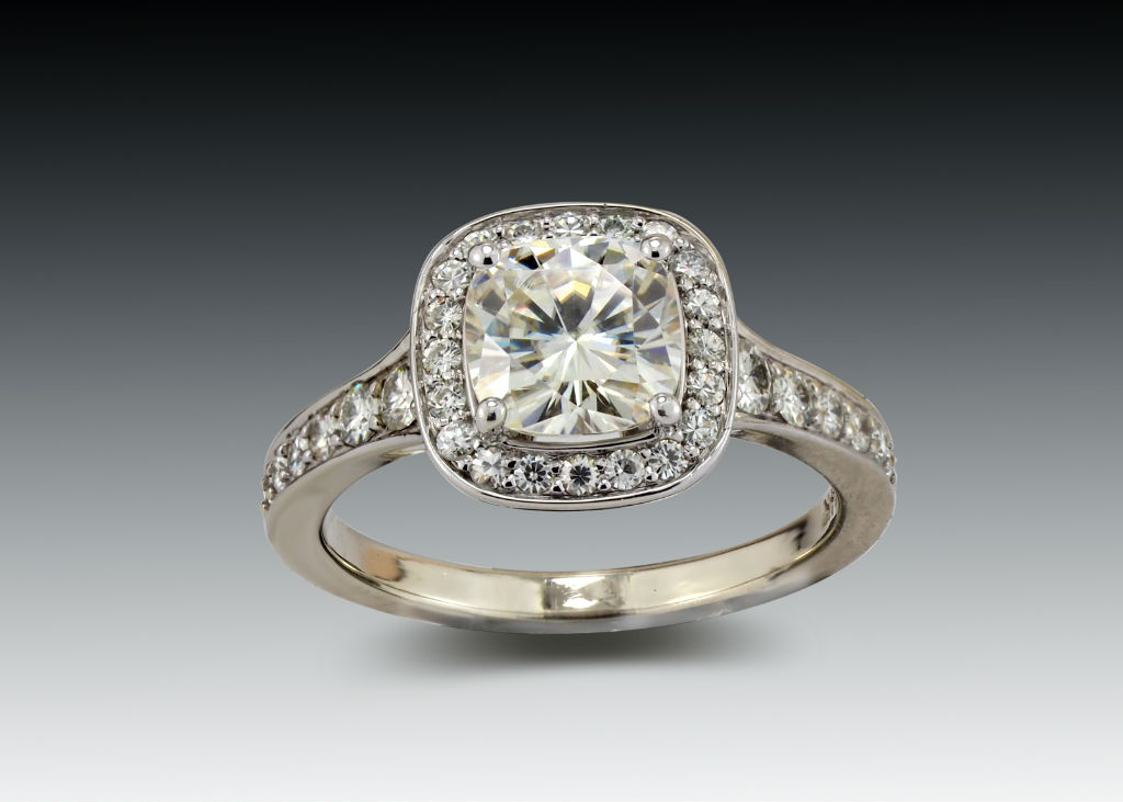 Moissanite Square Halo Ring