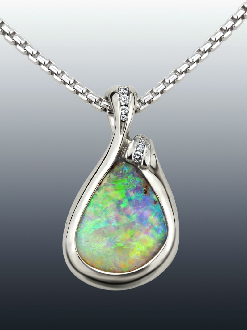 Opal Diamond Palladium Drop Pendant Full
