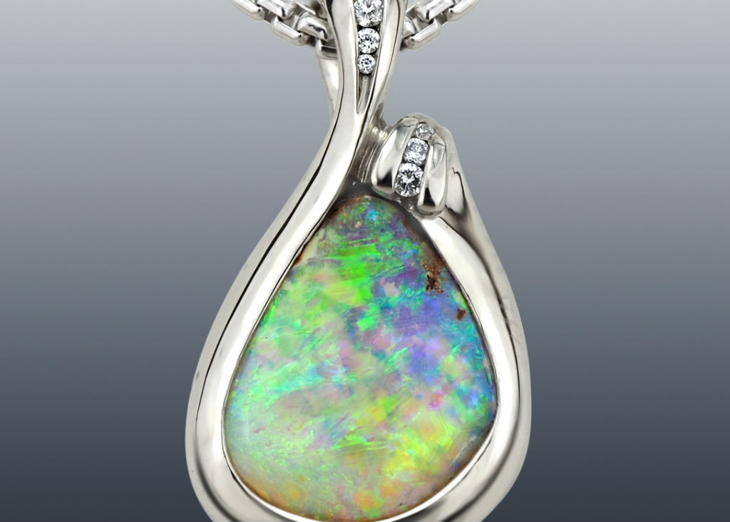 Opal Diamond Palladium Drop Pendant