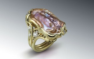 Pearl Pecan Ring 18k Diamonds
