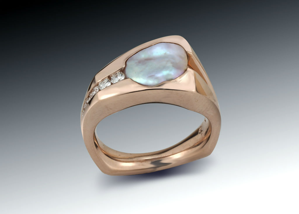 Pearl and diamond Rose Gold Wedge Ring
