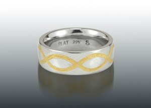 Platinum and 22K Inlaid Wedding Band