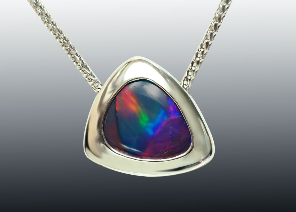 Rainbow Opal White Gold Necklace