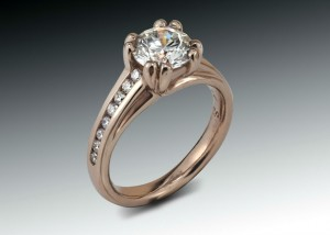 Rose Gold Prong Diamond Engagement Ring