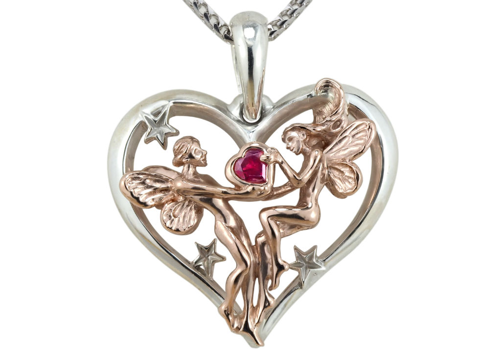Rose and White Gold Ruby Valentines Fairies