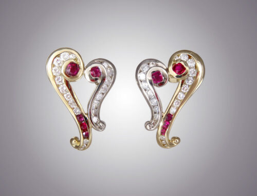 Ruby Diamond Heart Earrings