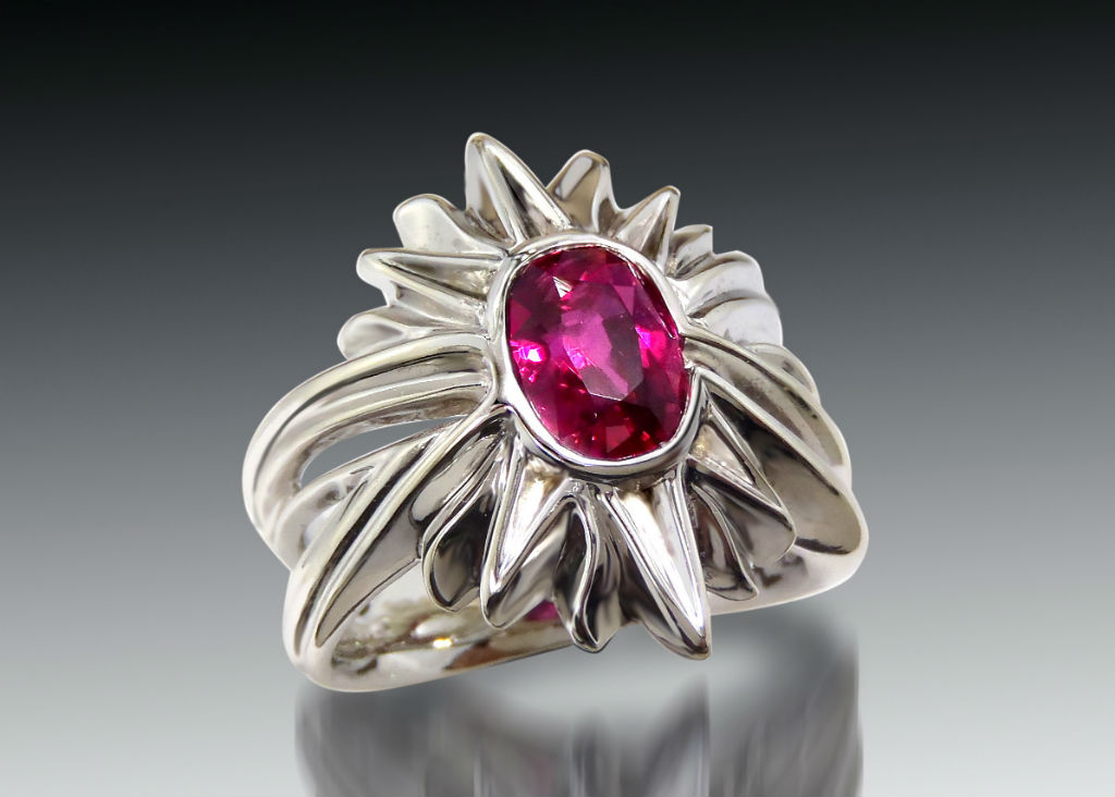 Ruby and White Gold Starburst Ring
