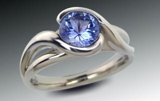 Sapphire Bypass Split Shank Ring