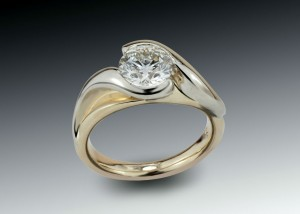 Two Tone Bypass Diamond Engagement Ring