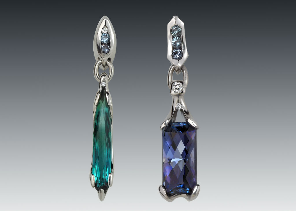 long drop tourmaline and tanzanite earrings