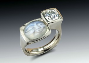 carved moonstone diamond two bezel ring