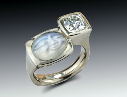 Double Stone Moonstone Diamond Ring