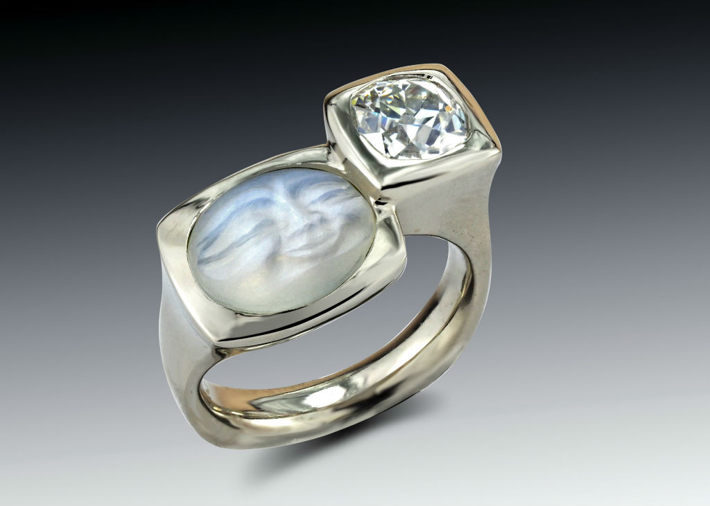 carved moonstone diamond two bezel ring