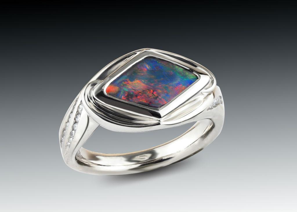 opal and diamond palladium ring