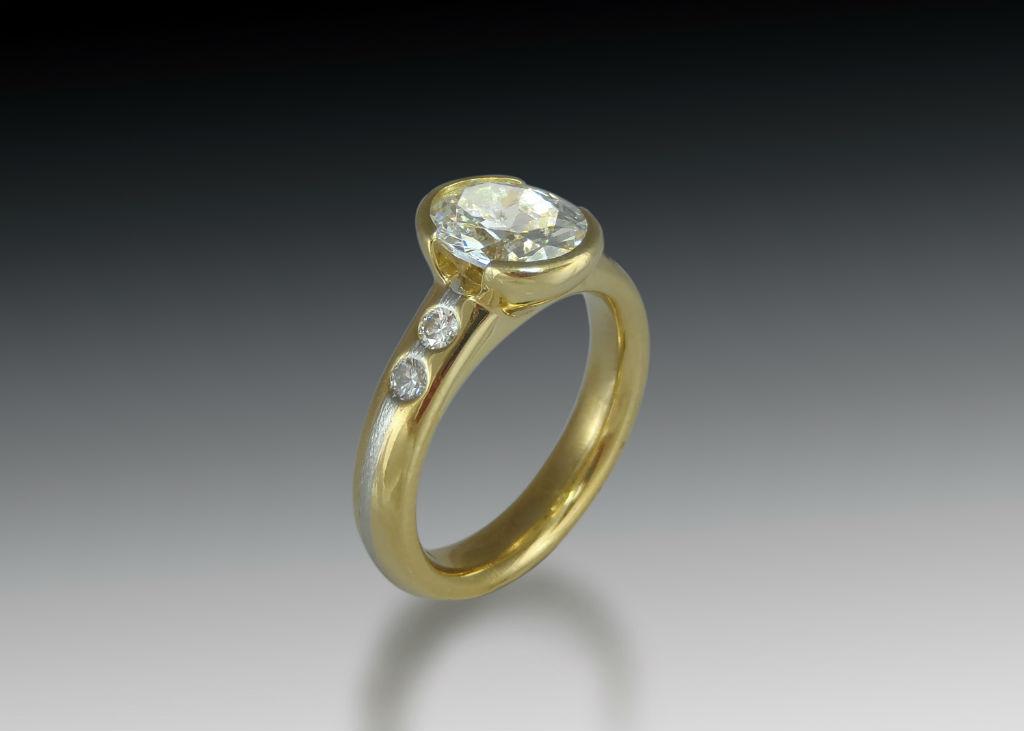 18K Diamond Bezel Engagement Ring