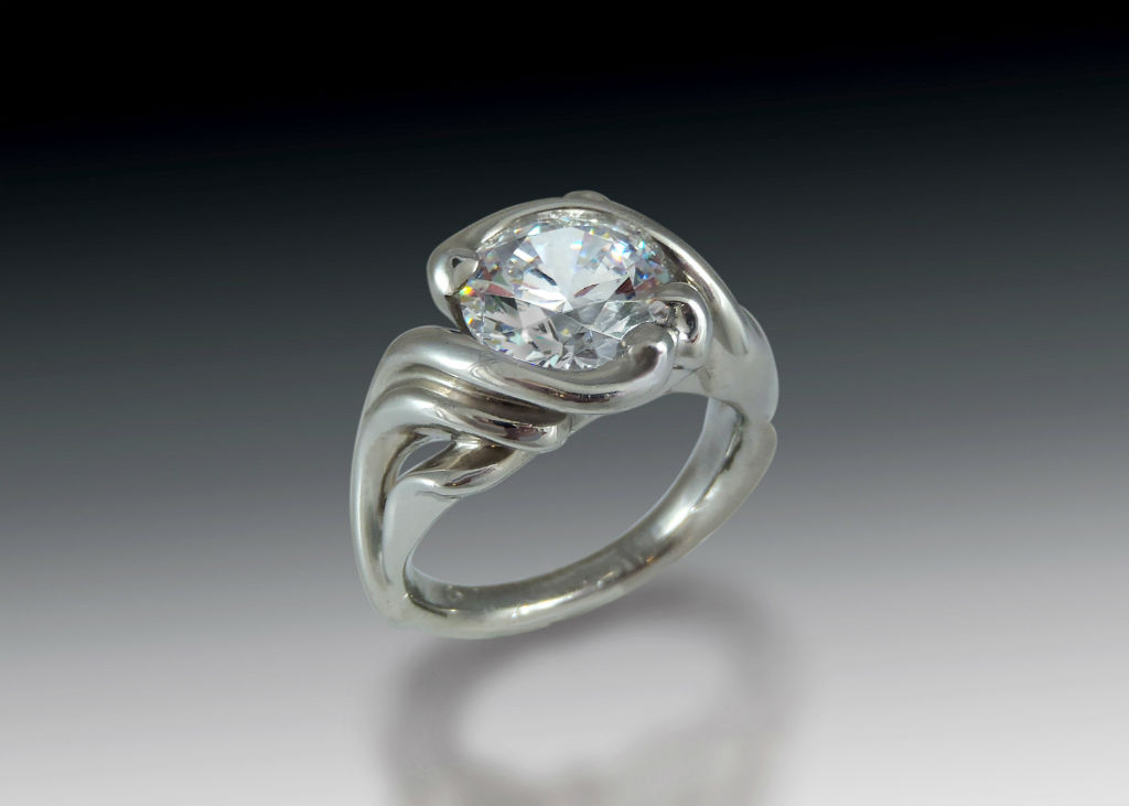 Bold Swirl Solitaire Engagement Ring