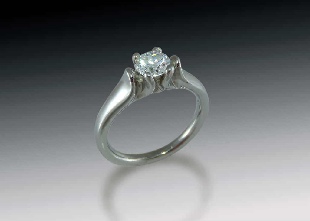 Cathedrale Diamond Solitaire Engagement Ring