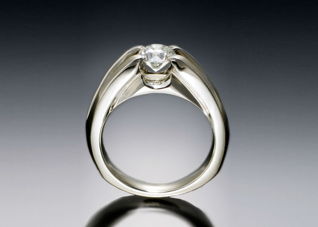 Contemporary Diamond Solitaire Engagement Ring
