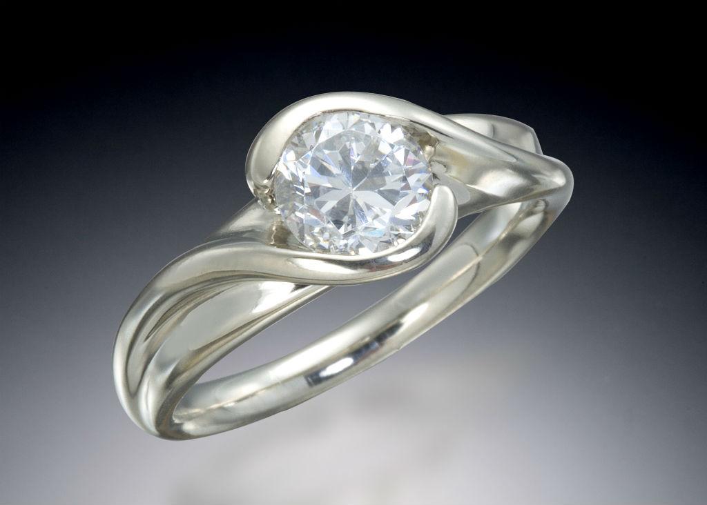 Diamond Bypass White Gold Engagement Ring