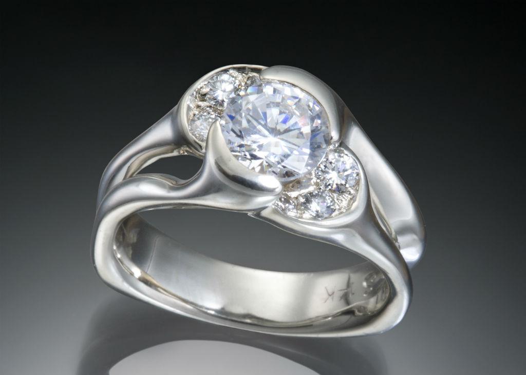 Diva Multi Diamond Split Shank Engagement Ring