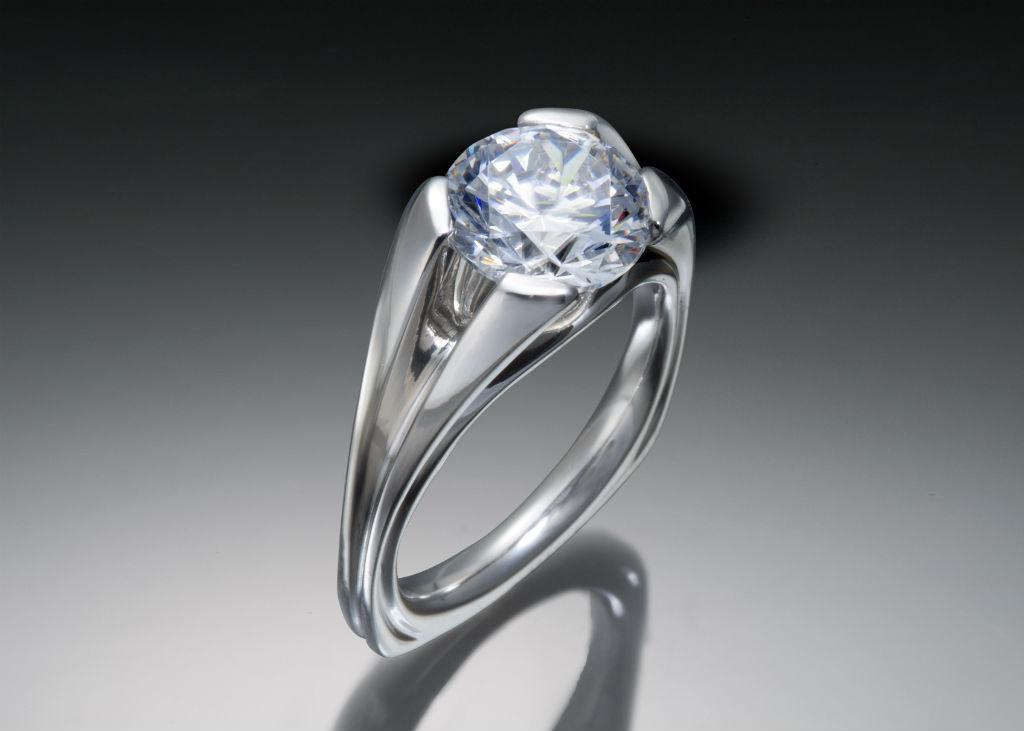 Flared Prong Palladium Diamond Solitaire Engagement Ring