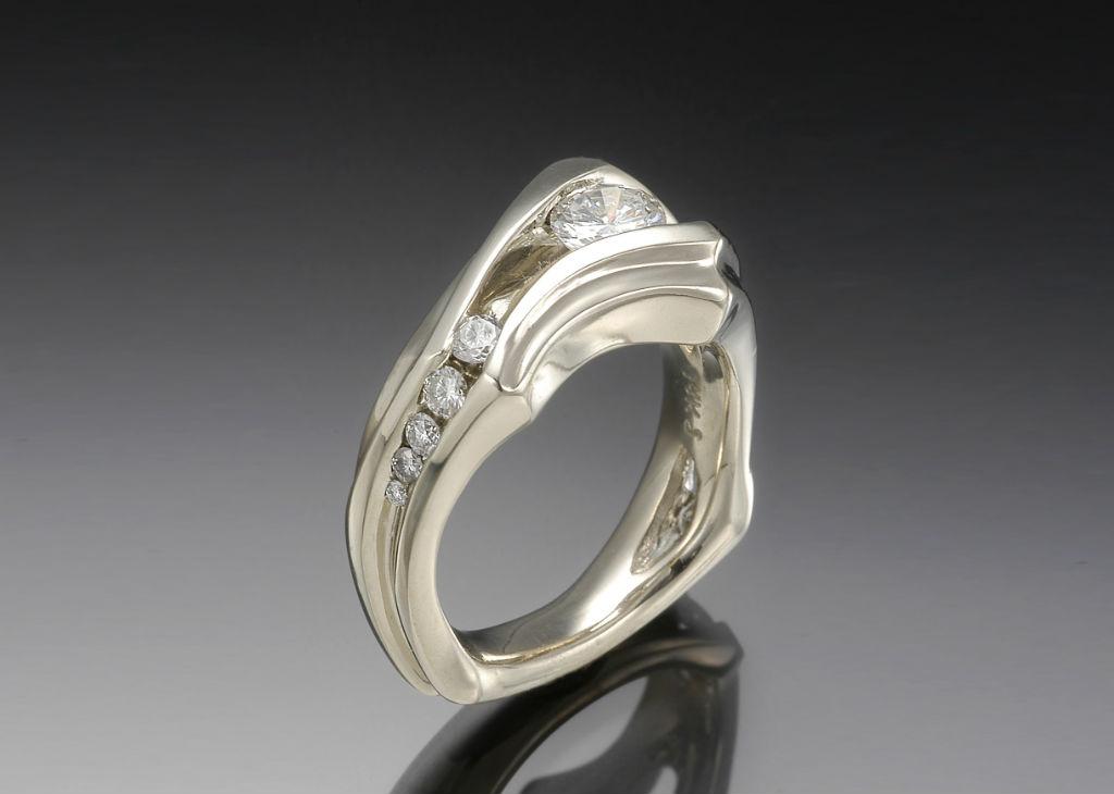 Floating Diamond Multi Stone Engagement Ring