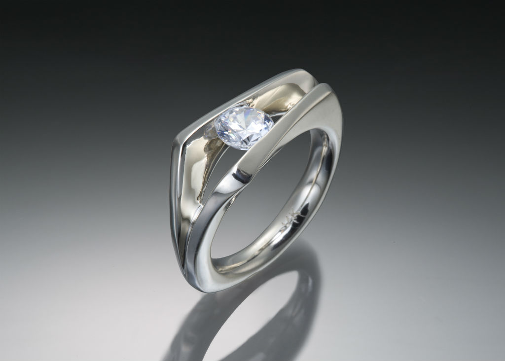 Floating Solitaire White Gold Diamond Engagement Ring