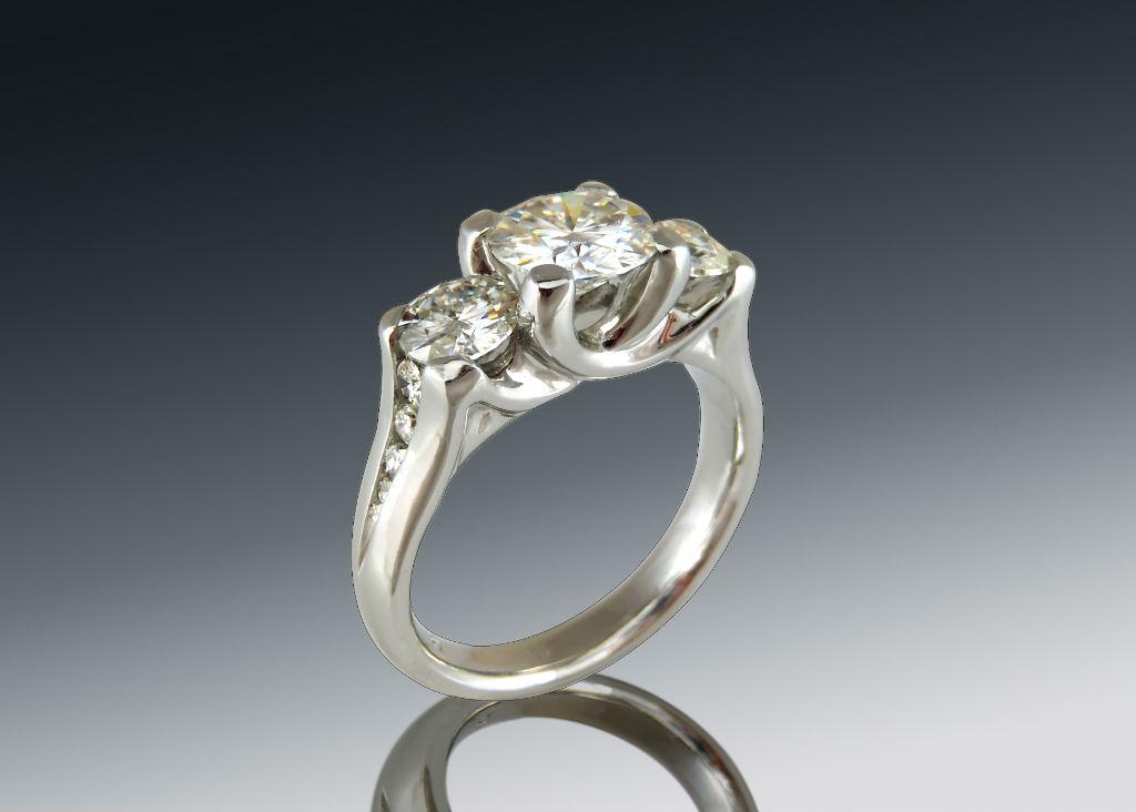 Platinum Moissanite Three Stone Ring