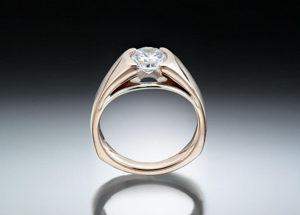 Rose Gold Suspended Diamond Solitare Ring