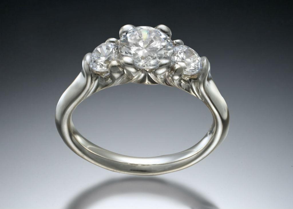 Three Stone White Gold Diamond Engagement Ring
