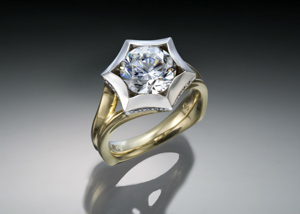 Two Tone Star Engagement Ring