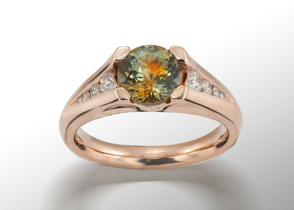 Green Sapphire and Rose Gold Engagement Ring
