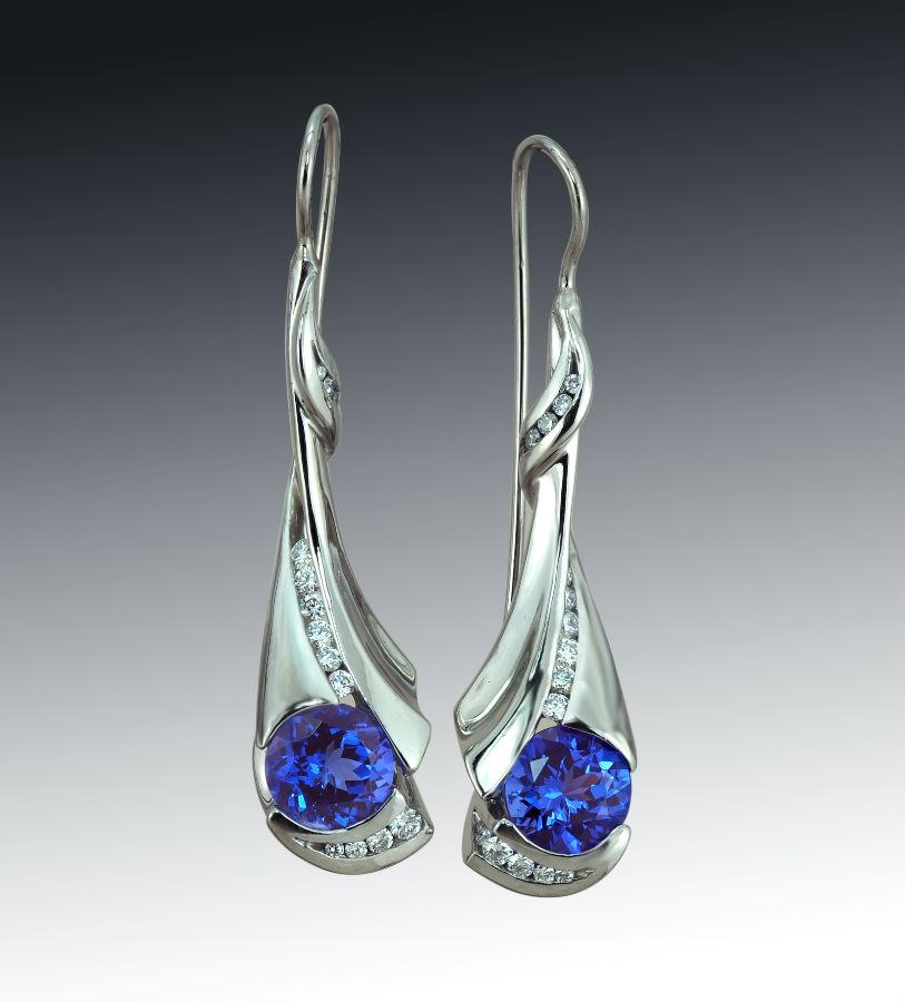 Long Tanzanite Diamond Palladium Earrings Vertical