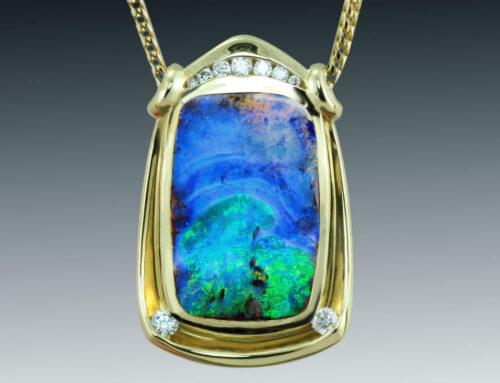 Rectangular Boulder Opal Necklace