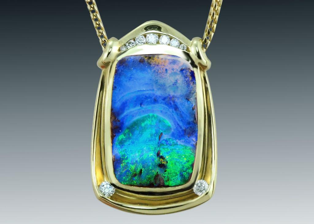 Boulder Opal Rectangular Necklace Crop