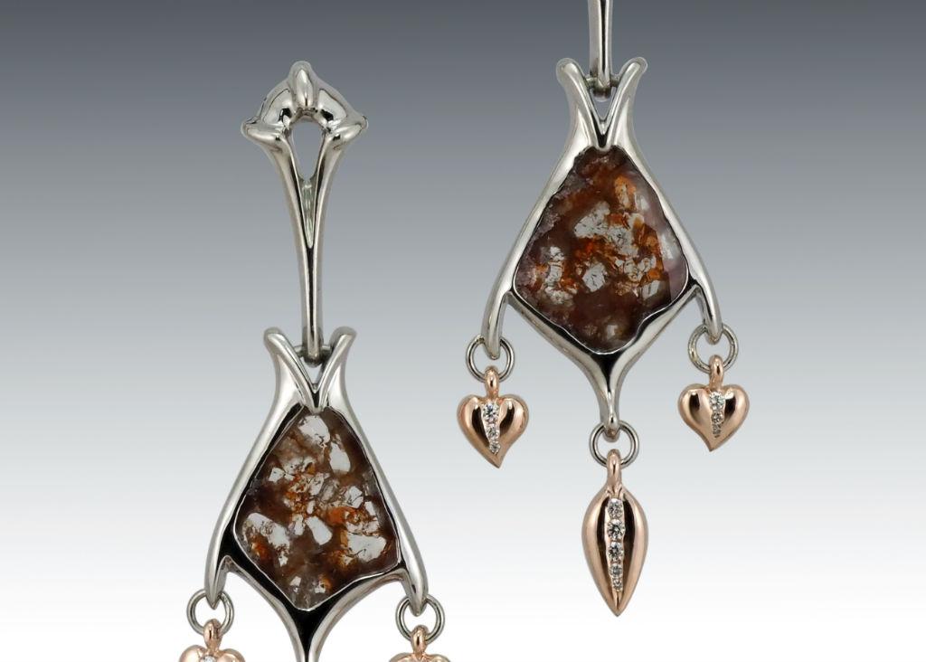 Diamond Slice Dangle Earrings Crop