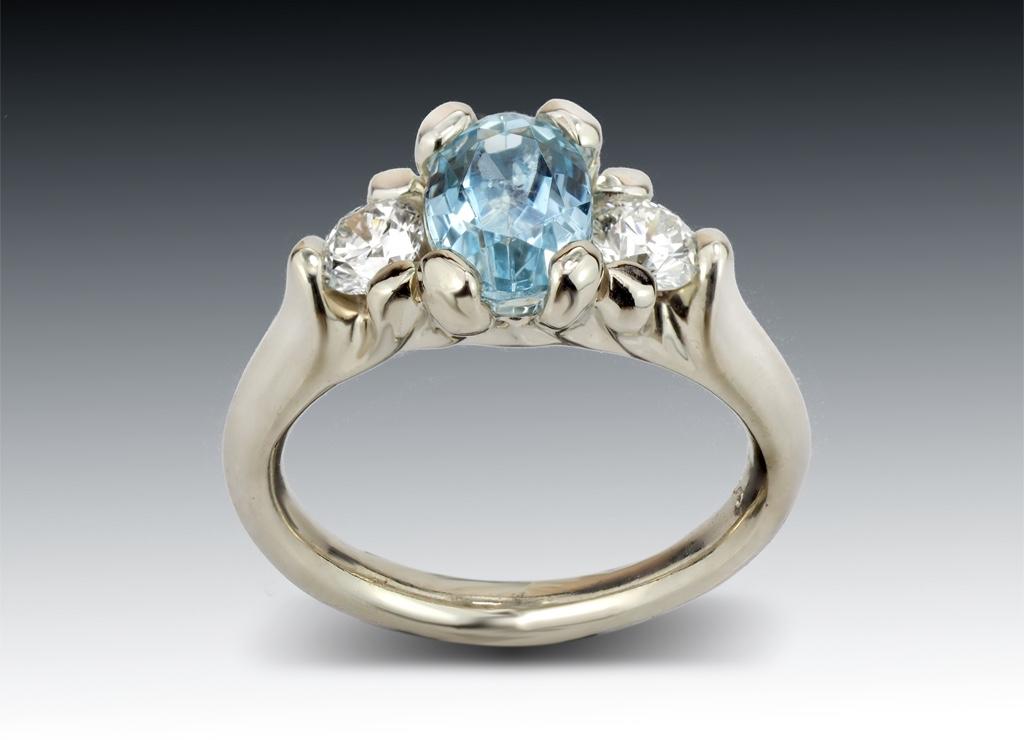 Three Stone Aquamarine and Diamond Ring in Custom 14K White Gold