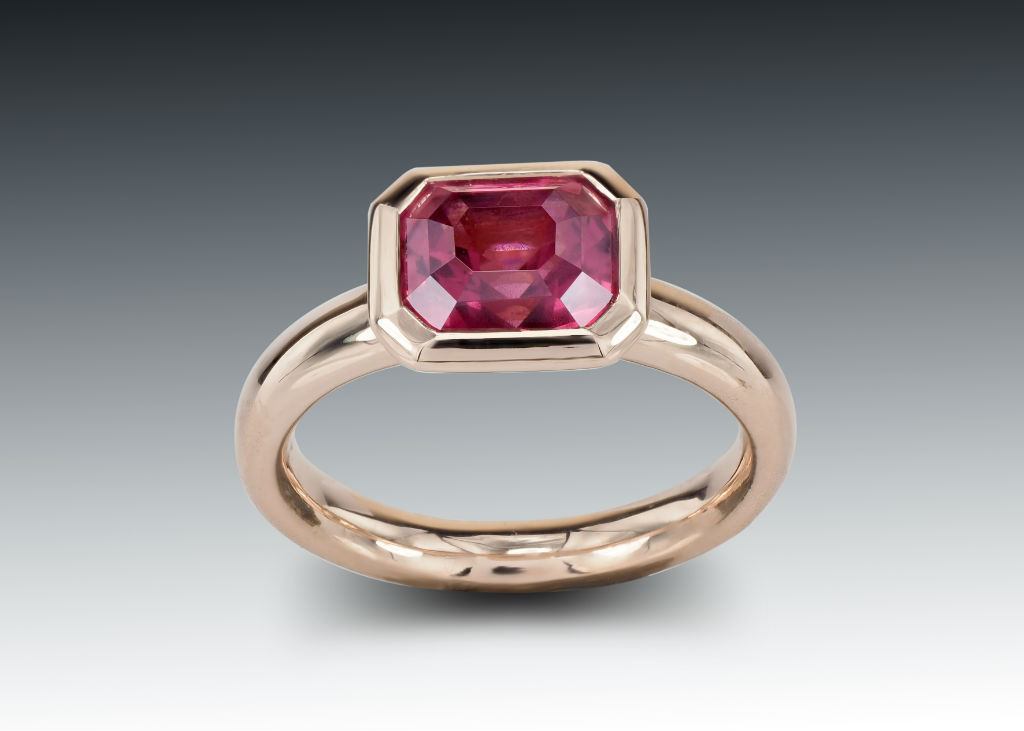 Emerald Cut Pink Tourmaline and Rose Gold Ring
