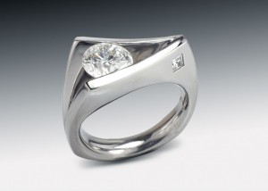 Floating Diamond Ring with Inset Square Diamond