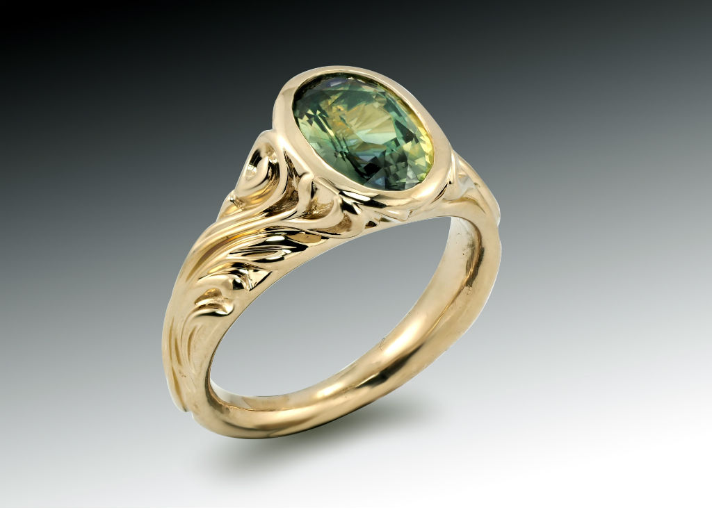 Green Sapphire Scrolled Ring